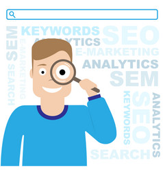 Seo optimization sem and e-marketing the guy is vector