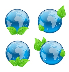 Set icon earth with green leaves isolated on white vector image