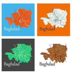 set of baghdad city map - iraq flat isolated on vector image vector image