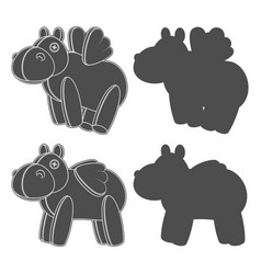 set with a toy hippo with wings vector image