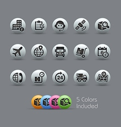Shipping and Tracking Icons Pearly Series vector image