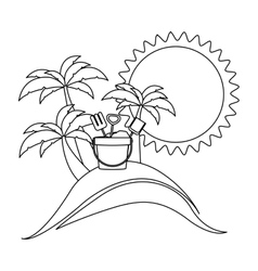 Silhouette background beach with bucket tools vector
