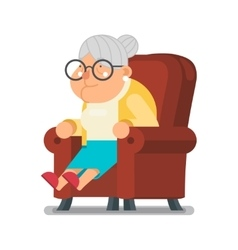 Sit Rest Granny Old Lady Character Cartoon Flat vector