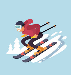 Smiling cartoon skiing downhill vector