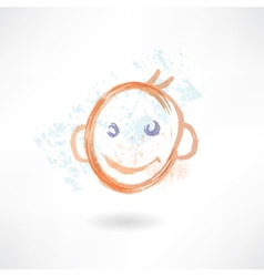 smiling face grunge icon vector image