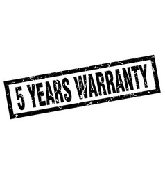 Square grunge black 5 years warranty stamp vector