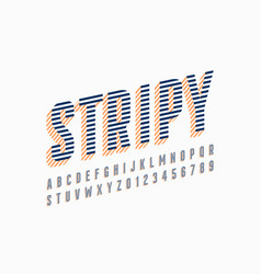 stripy font design alphabet letters and numbers vector image