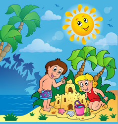 Summer theme with children playing vector