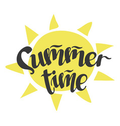 Summertime - handwritten lettering word vector