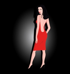 The girl in a red dress vector