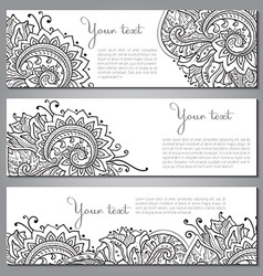 Three banners with beautiful monochrome floral vector