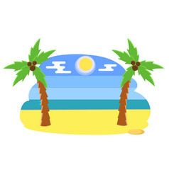 tropical beach with palms coconut trees on a hot vector image