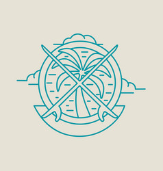 Tropical summer palm tree icon with surf boards vector