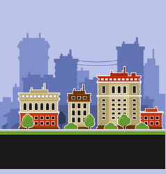 urban landscape with buildings icons vector image