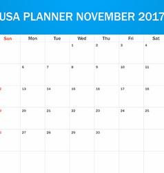 USA Planner blank for November 2017 Scheduler vector