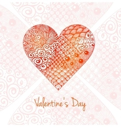 Valentines day card with big zentagle heart vector