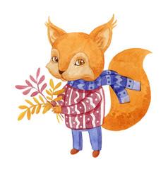 Watercolor style squirrel vector