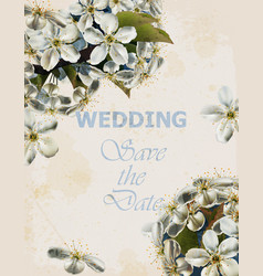 wedding card with cherry flowers beautiful vector image