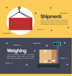 weighting of packages service vector image