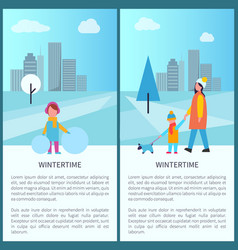 wintertime park activities vector image