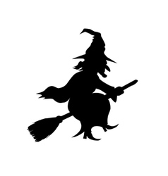 Witch Flying on Broomstick Template vector image