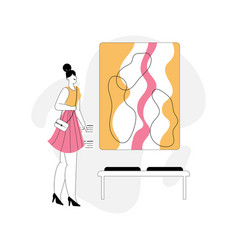 Woman watching exhibition abstract painting vector