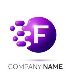 f letter splash logo purple dots circle bubble vector image