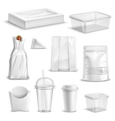 food packaging blank realistic set vector image vector image