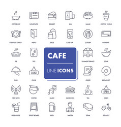 line icons set cafe vector image