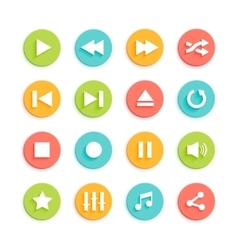 Media Player Material Design Icons Set vector image vector image