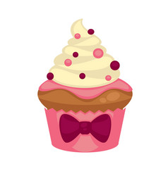 sweet vanilla cupcake with purple bow and vector image
