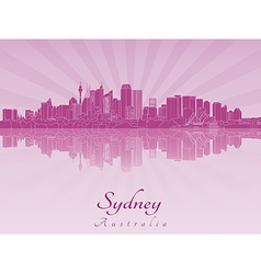 Sydney V2 skyline in purple radiant orchid vector image