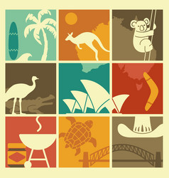 symbols of australian culture and nature vector image