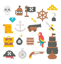 Flat design pirate items vector image vector image