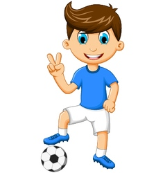 funny boy cartoon peace with football vector image vector image