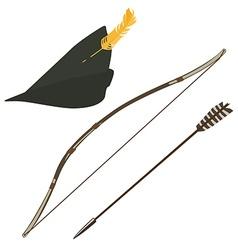 Robin hood hat bow and arrow vector image vector image