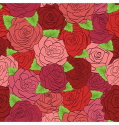 seamless pattern red roses with green leaves vector image vector image