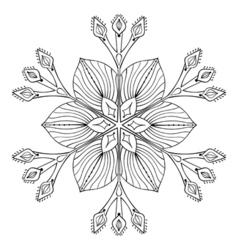snow flake in zentangle doodle style black mandala vector image