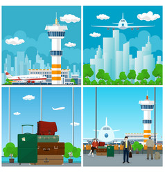 arrivals at airport waiting room with people vector image vector image