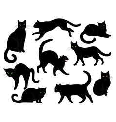 black cats set vector image vector image