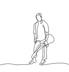 continuous line drawing of standing guitarist vector image