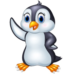 Cute cartoon animal penguin waving isolated on whi vector image vector image