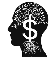 human head money tree vector image vector image