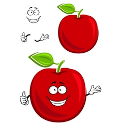 Red apple fruit character showing thumb up vector image vector image