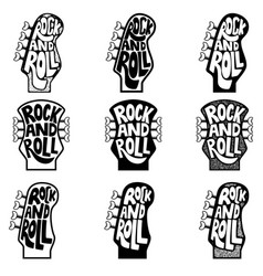 rock and roll set of hand drawn phrase on guitar vector image vector image