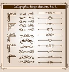 Vintage linear ornate decorative elements vector