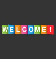 Welcome tag market message flat on black vector