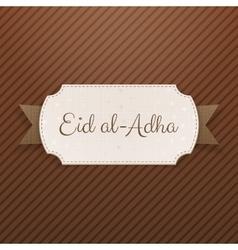 Eid al-adha text on greeting label vector