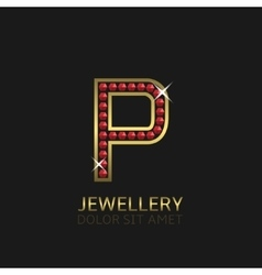 Golden Letter P vector image vector image