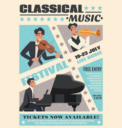 music cartoon poster vector image